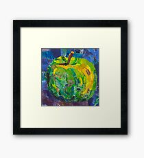 Green juicy apple in mixed media collage Framed Print