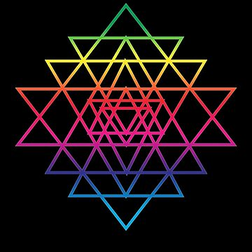 Sacred Geometry Geometric Mandala Flower Of Life Rainbow Sri Yantra Star by thespottydogg