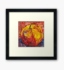 Red apple - ready to bite in - mixed media collage Framed Print