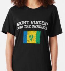 Saint Vincentian, Vincentian Flag Shirt - Vintage Saint Vincent and Grenadines T-Shirt Slim Fit T-Shirt
