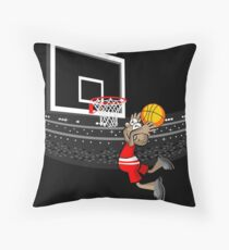 Basketball boy jumps to score Throw Pillow