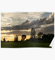 Summer Sunset with Balloons and Bicycles Poster