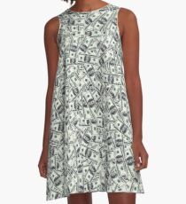 Giant money background 100 dollar bills A-Line Dress