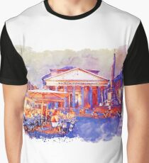 The Pantheon Rome Watercolor Streetscape Graphic T-Shirt
