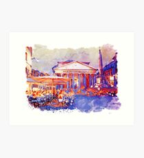 The Pantheon Rome Watercolor Streetscape Art Print