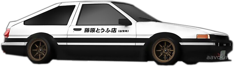 initial d toyota ae86 tofu delivery stickers by aavoka redbubble. Black Bedroom Furniture Sets. Home Design Ideas