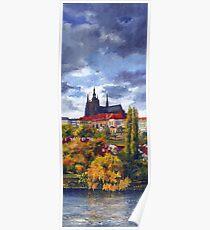 Prague Castle with the Vltava River 01 Poster