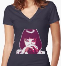 Mia Wallace Women's Fitted V-Neck T-Shirt