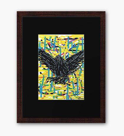 2308 - Flying Daemon before Yellow Colors Framed Print