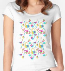 Candy Cartoon Print 80s Women's Fitted Scoop T-Shirt