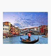 Gondola and Rialto Bridge Photographic Print