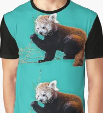 Red Panda in Blue Graphic T-Shirt