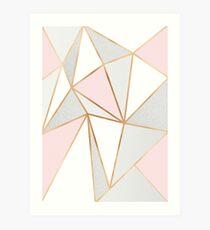 Pink, Grey & Gold Geo Art Print