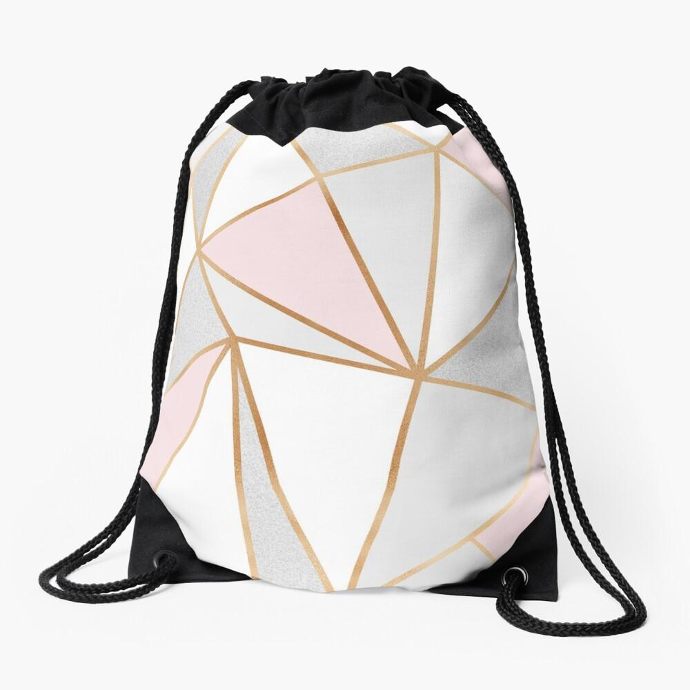 Pink, Grey & Gold Geo Drawstring Bag
