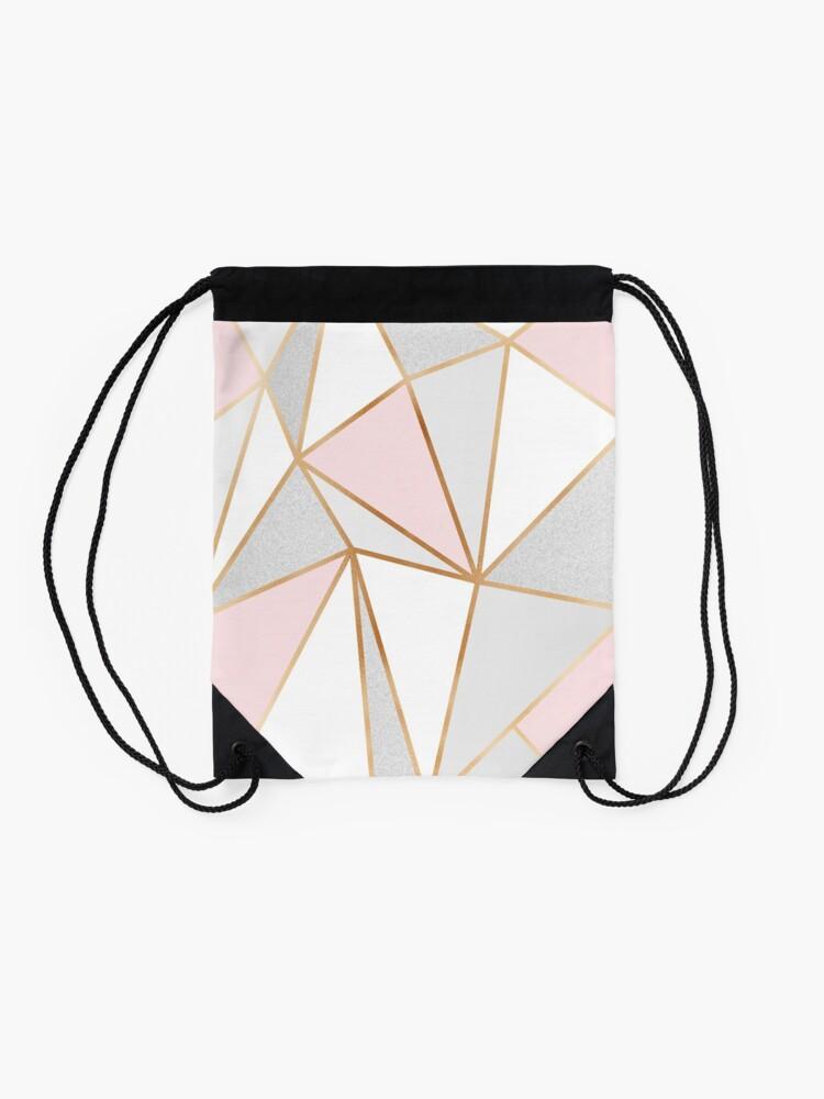 Alternate view of Pink, Grey & Gold Geo Drawstring Bag