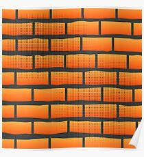 Orange Grunge Brick Wall.  Orange Brick Pattern. Poster