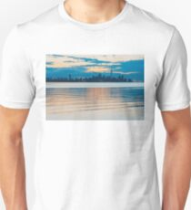 Orange and Teal Toronto Skyline Over Water  T-Shirt