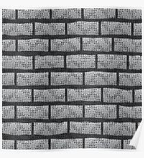 Grunge Grey Wall.  Abstract Grey Brick Pattern. Poster