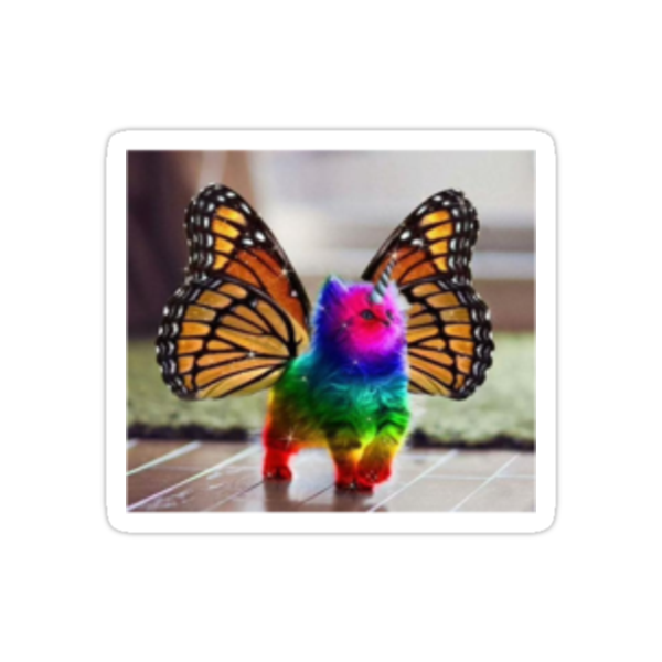 Quot Rainbow Butterfly Unicorn Kitten Quot Stickers By