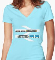 Class 58 and Class 37 freight trains print Women's Fitted V-Neck T-Shirt
