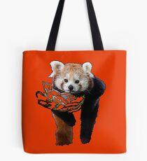 Red Panda on a Branch in Orange Tote Bag