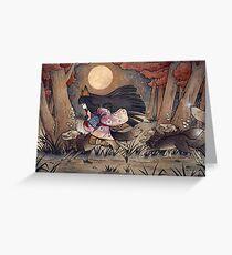 Running With Monsters - Kitsune Fox Yokai  Greeting Card