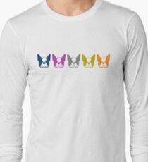 Boston Terrier line up - multi colored Bostons: color series 1 - fun Boston Terrier pattern Long Sleeve T-Shirt