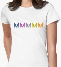 Boston Terrier line up - multi colored Bostons: color series 1 Women's Fitted T-Shirt