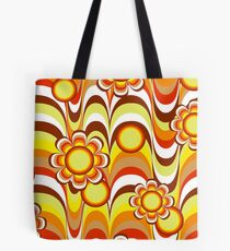 Groovy 60s Psychedelic Flower Tote Bag