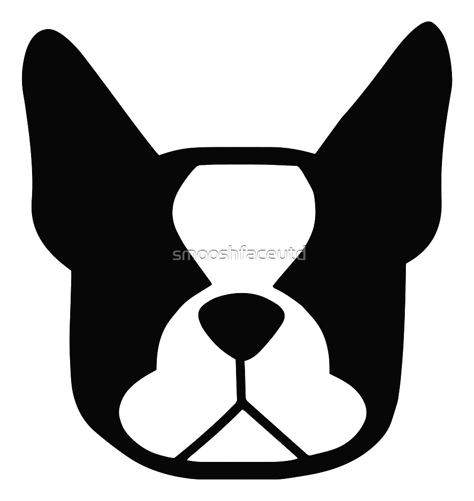 Boston Terrier face in black and white - bold Boston silhouette by smooshfaceutd