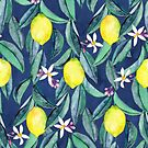 When Life Gives You Lemons - watercolor lemons on dark blue by micklyn