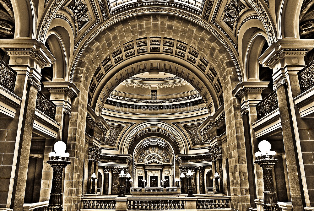 Interior View of Wisconsin State Capital  by Andreas Mueller