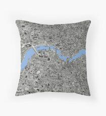 London Map Drawing Throw Pillow