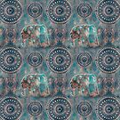 Elephant Ethnic Style Pattern Teal and Copper by artsandsoul