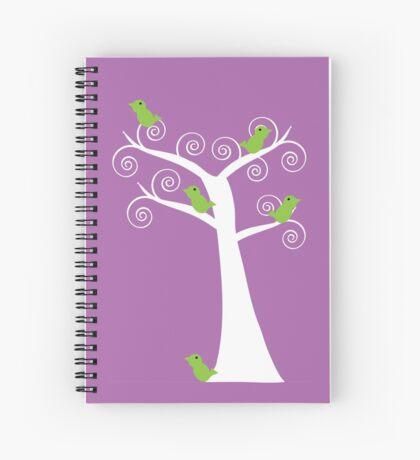 5 Green Birds in a White Tree Purple Art Nouveau Spiral Notebook