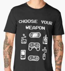 Retro Gaming T-shirt: Choose Your Weapon Classic Controllers Men's Premium T-Shirt