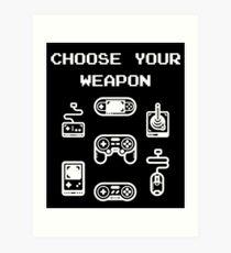 Lámina artística Camiseta retro para juegos: elige tu arma Controladores clásicos