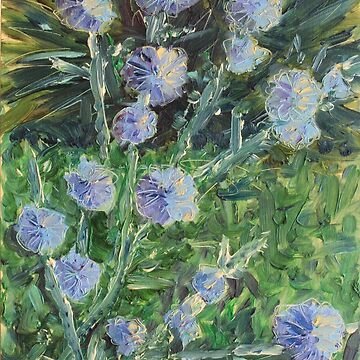 Blooming Chicory. Oil painting. by anatolkin