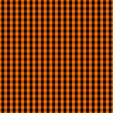 Classic Pumpkin Orange and Black Gingham Check Pattern by Creepyhollow