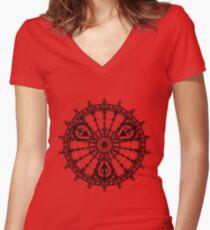 Skull Mandala Pattern Women's Fitted V-Neck T-Shirt