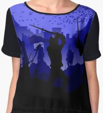 medieval duel swords battle of the knights Women's Chiffon Top