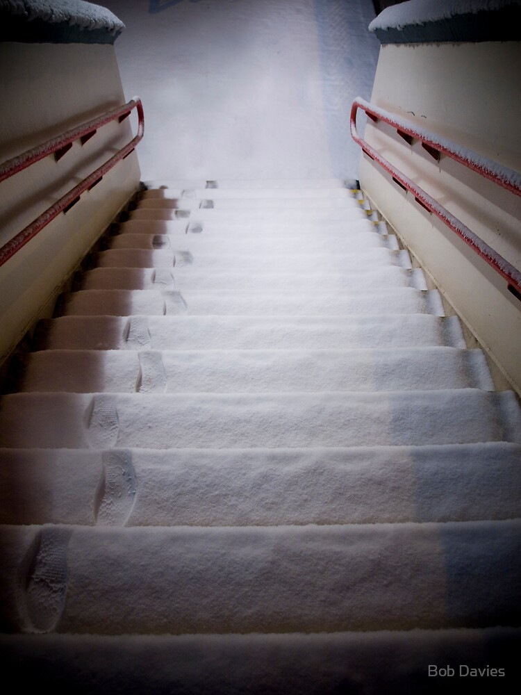 Steps Covered With Snow and Footprints at Night by Bob Davies