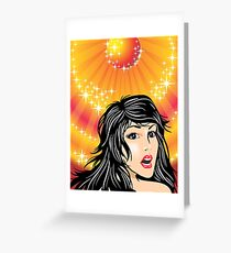 Beautiful Woman face with black hair Greeting Card