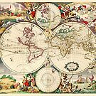 Vintage World Map from 1690 by Glimmersmith