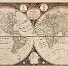 Antique New Map of The World 1799 by Glimmersmith