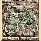Map Of Central Park, New York 1869 by Glimmersmith