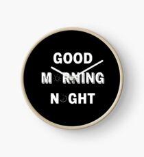GOOD MORNING/NIGHT BLACK Clock