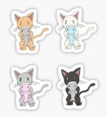 Omnom Kitty with Fish 4 Pack Sticker