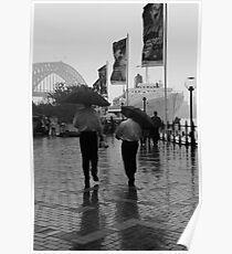 Lunch Break in the Rain Poster
