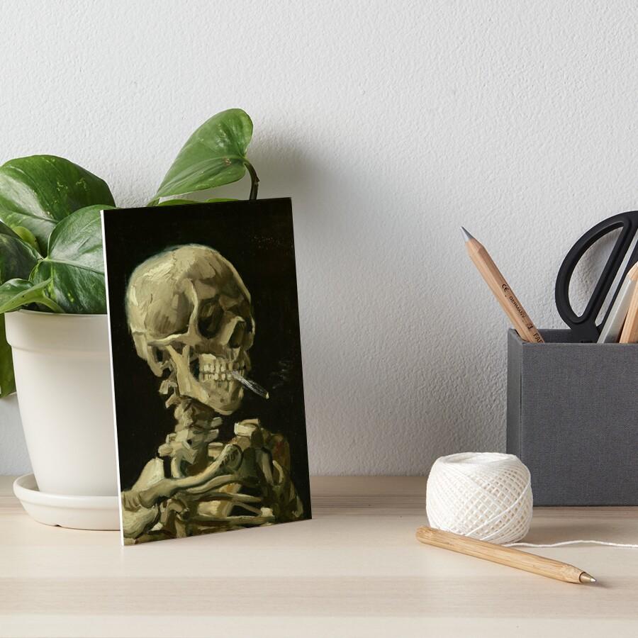 Skull of a Skeleton with Burning Cigarette by Vincent van Gogh Art Board Print
